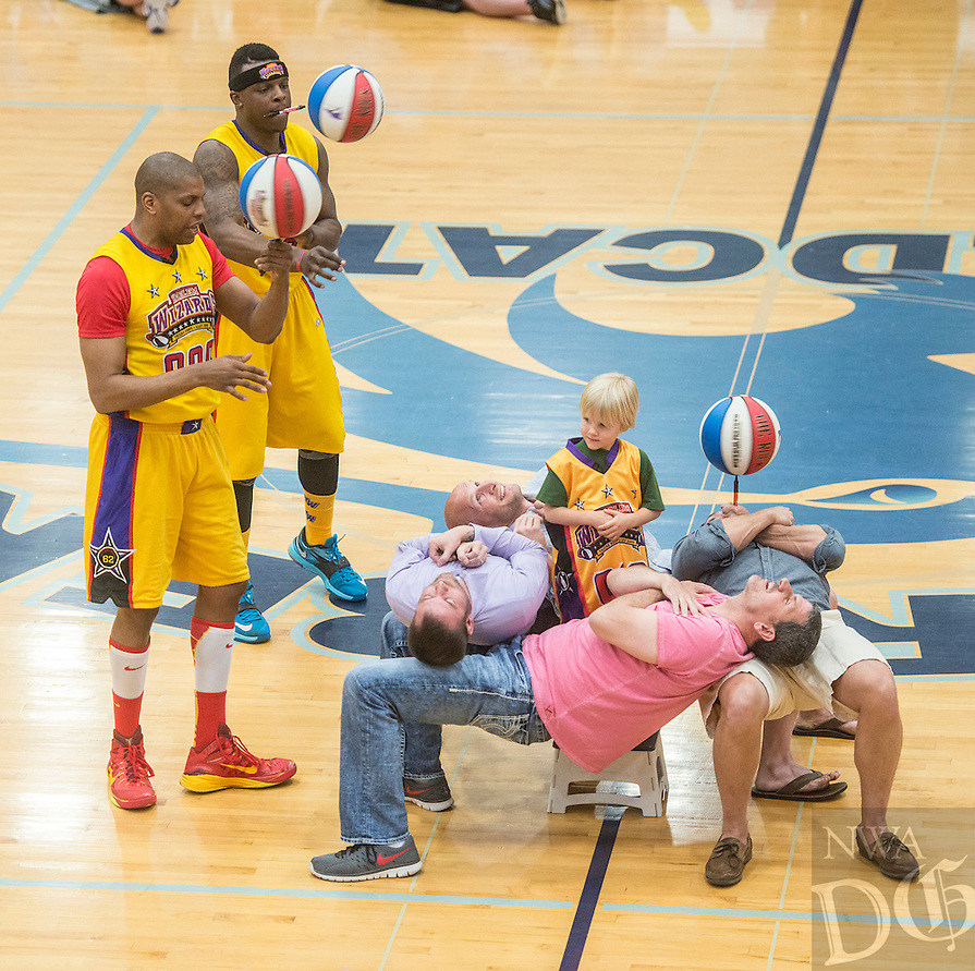 NWA Democrat-Gazette/ANTHONY REYES &bull; @NWATONYR<br /> The Harlem Wizards against the Har-Ber Hoopsters in a charity game Thursday, April 30, 2015 at Wildcat Arena in Springdale. The event was to raise money for small grants to give to teachers and students at the school.