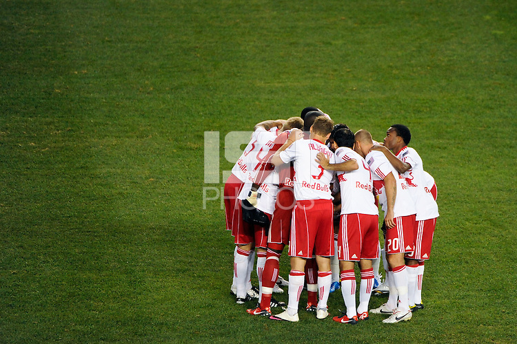 New York Red Bulls players huddle before the start of the match. The New York Red Bulls defeated the San Jose Earthquakes 2-0 during a Major League Soccer (MLS) match at Red Bull Arena in Harrison, NJ, on August 28, 2010.