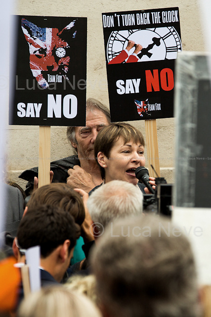 Caroline Lucas MP (Green Party of England and Wales Member of Parliament for Brighton Pavilion).<br /> <br /> London, 14/07/2015. Today, PETA UK, Humane Society International, League Against Cruel Sports, LUSH, the RSPCA, Save Me, led by the Queen legend Dr Brian May, held a demonstration outside the Houses of Parliament to protest against David Cameron's plan to re-legalise the fox hunting in the UK. From the organisers Facebook page: &lt;&lt;Join [&hellip;] on Tuesday 14 July outside Parliament to speak out against government plans to bring back fox hunting, ahead of the vote in the House of Commons on Wednesday&gt;&gt;. In the meantime, in the House of Commons the Government postponed the vote facing a sure defeat by SNP (Scottish National Party), Labour Party, and a consistent number of Conservative MPs who formed a &quot;temporary alliance&quot; against the fox hunting.<br /> <br /> For more information please click here: http://on.fb.me/1O4hHWk<br /> <br /> To Sign the Change.org Online Petition please click here: http://chn.ge/1PbElkl