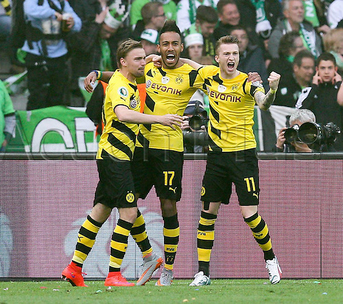 30.05.2015. Berlin, Germany. DFB Football Cup final. Borussia Dortmund versus Wolfsburg. Goal celebrations for the games first goalshows von Marcel Schmelzer 29 (Borussia Dortmund), Pierre-Emerick Aubameyang 17 (Borussia Dortmund) and Marco Reus 11 (Borussia Dortmund)