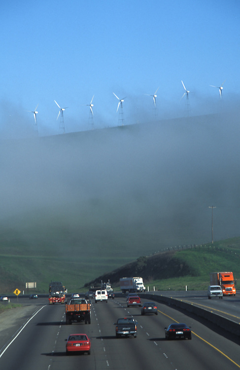 Wind mills above freeway at altamonte pass, Livermore California
