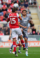 Rotherham United's Clark Robertson is fouled by Lincoln City's Tyler Walker<br /> <br /> Photographer Chris Vaughan/CameraSport<br /> <br /> The EFL Sky Bet Championship - Rotherham United v Lincoln City - Saturday 10th August 2019 - New York Stadium - Rotherham<br /> <br /> World Copyright © 2019 CameraSport. All rights reserved. 43 Linden Ave. Countesthorpe. Leicester. England. LE8 5PG - Tel: +44 (0) 116 277 4147 - admin@camerasport.com - www.camerasport.com