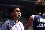 (L-R) <br />   Sang Beom Choi , <br /> Nozomi Okuhara (JPN), <br /> AUGUST 23, 2018 - Badminton : <br /> Women's Singles Round of 32 <br /> at Gelora Bung Karno Istora <br /> during the 2018 Jakarta Palembang Asian Games <br /> in Jakarta, Indonesia. <br /> (Photo by Naoki Nishimura/AFLO SPORT)
