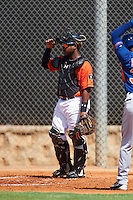 GCL Astros catcher Randy Vasquez (61) during the first game of a doubleheader against the GCL Mets on August 5, 2016 at Osceola County Stadium Complex in Kissimmee, Florida.  GCL Astros defeated the GCL Mets 4-1 in the continuation of a game started on July 21st and postponed due to inclement weather.  (Mike Janes/Four Seam Images)