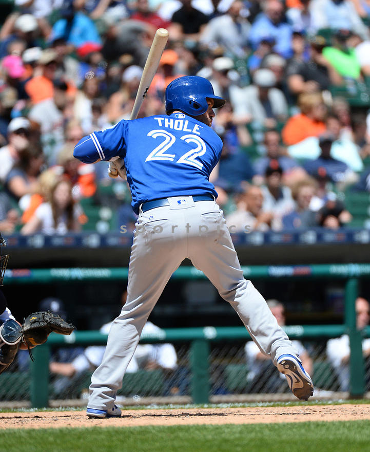 Toronto Blue Jays Josh Thole (22) during a game against the Detroit Tigers on June 8, 2016 at Comerica Park in Detroit MI. The Blue Jays beat the Tigers 7-2.