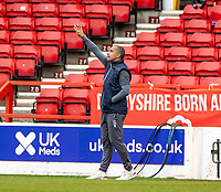 7th July 2020; City Ground, Nottinghamshire, Midlands, England; English Championship Football, Nottingham Forest versus Fulham; Nottingham Forest head coach Sabri Lamouchi gets animated on the sideline