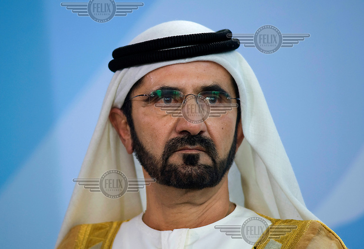 Sheikh Mohammed bin Rashid al-Maktoum, Prime Minister and Vice President of the United Arab Emirates at a press call in Berlin.