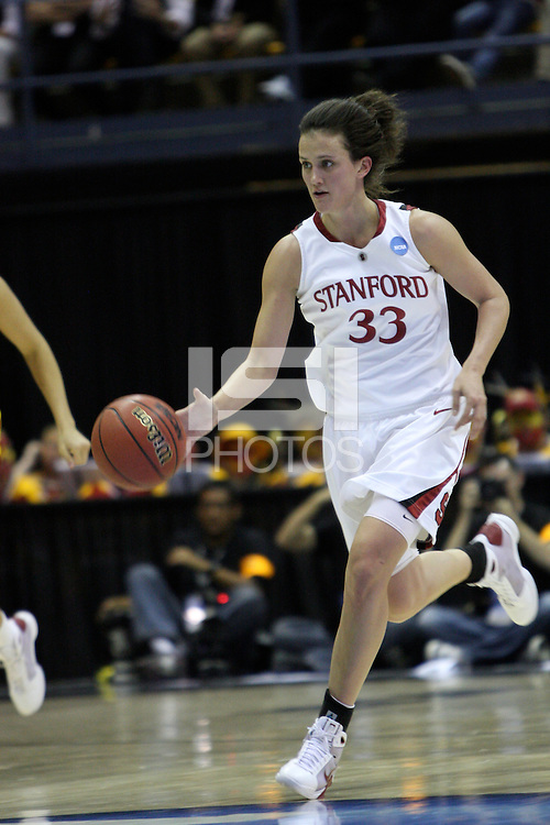 BERKELEY, CA - MARCH 30: Jillian Harmon pushes the tempo during Stanford's 74-53 win against the Iowa State Cyclones on March 30, 2009 at Haas Pavilion in Berkeley, California.