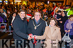 Eamonn Fitzmaurice, Kerry manager, Patricia Walsh, Castleisland chamber alliance and Mayor  Bobby O'Connorr, switch on the lights  at the Castleisland Christmas lights Event on Friday