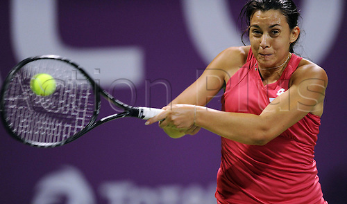 19 02 2012   Doha Feb 19 2012 Xinhua Marion Bartoli of France Returns to Samantha Stosur of Australia during their WTA Tennis women Qatar Open Semi Final Tennis Match in Doha ON February 18 2012 Bartoli pulled out of The Semi-finals when She what trailing 6 3 0 0 Stosur Won by  Xinhua Chen   Qatar Doha Tennis WTA Qatar Total Open