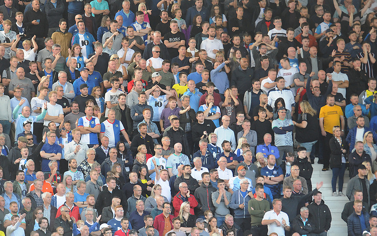 Blackburn Rovers fans watch their team in action <br /> <br /> Photographer Kevin Barnes/CameraSport<br /> <br /> The EFL Sky Bet Championship - West Bromwich Albion v Blackburn Rovers - Saturday 31st August 2019 - The Hawthorns - West Bromwich<br /> <br /> World Copyright © 2019 CameraSport. All rights reserved. 43 Linden Ave. Countesthorpe. Leicester. England. LE8 5PG - Tel: +44 (0) 116 277 4147 - admin@camerasport.com - www.camerasport.com
