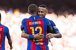 FC Barcelona's Rafinha Alcantara  and Neymar Santos Jr during the La Liga match between Futbol Club Barcelona and Deportivo de la Coruna at Camp Nou Stadium Spain. October 15, 2016. (ALTERPHOTOS/Rodrigo Jimenez)