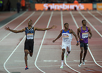 Zharnel HUGHES (left) of GBR (200m) comes through to win Dedric DUKES (2nd left) of USA (200m) from during the Sainsburys Anniversary Games Athletics Event at the Olympic Park, London, England on 24 July 2015. Photo by Andy Rowland.