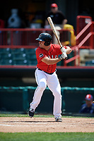 Erie SeaWolves designated hitter Zack Cox (14) at bat during a game against the Reading Fightin Phils on May 18, 2017 at UPMC Park in Erie, Pennsylvania.  Reading defeated Erie 8-3.  (Mike Janes/Four Seam Images)