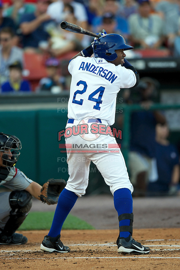 Durham Bulls infielder Les Anderson #24 during the Triple-A All-Star game featuring the Pacific Coast League and International League top players at Coca-Cola Field on July 11, 2012 in Buffalo, New York.  PCL defeated the IL 3-0.  (Mike Janes/Four Seam Images)