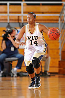 28 January 2012:  FIU guard Kamika Idom (14) handles the ball in the second half as the FIU Golden Panthers defeated the Western Kentucky University Hilltoppers, 60-56, at the U.S. Century Bank Arena in Miami, Florida.