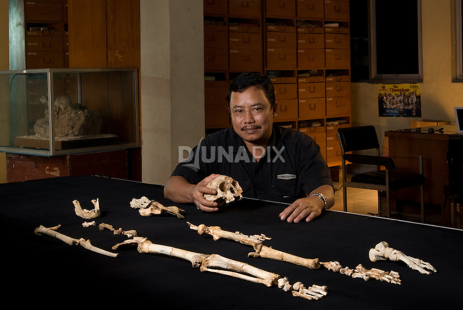 "Thomas Sutikna admires ""LB1"", the type specimen skeleton of Homo floresiensis, a.k.a., the Flores hobbit."