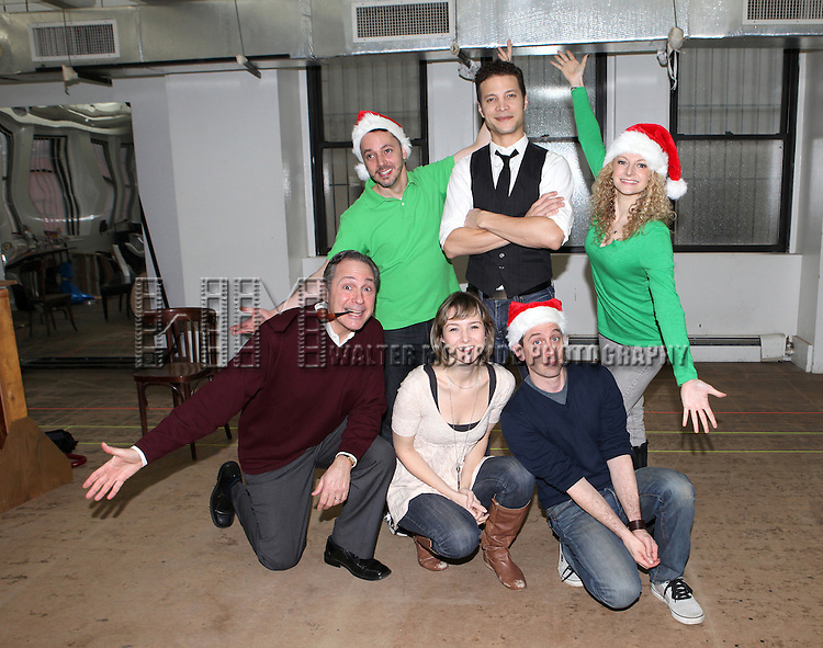 front row: Kevin Pariseau, Jill Paice, Garth Kravits  back row: Mark Price, Justin Guarini & Lauren Molina attending the Rehearsal for the Bucks County Playhouse production of 'It's a Wonderful Life - A Live Radio Play' at their rehearsal studios in New York City on December 5, 2012.