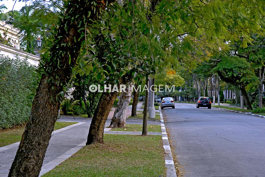 Rua arborizada em bairro rico, Jardim América. São Paulo. 2007. Foto de Juca Martins.