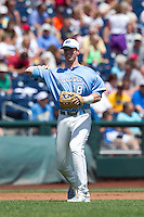 North Carolina Tar Heels third baseman Colin Moran #18 throws during Game 3 of the 2013 Men's College World Series between the North Carolina State Wolfpack and North Carolina Tar Heels at TD Ameritrade Park on June 16, 2013 in Omaha, Nebraska. The Wolfpack defeated the Tar Heels 8-1. (Brace Hemmelgarn/Four Seam Images)