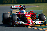 March 14, 2014: Fernando Alonso (ESP) from the Scuderia Ferrari team during practice session two at the 2014 Australian Formula One Grand Prix at Albert Park, Melbourne, Australia. Photo Sydney Low.