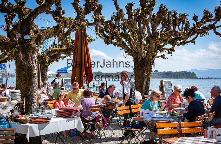 Germany, Bavaria, Chiemgau, Prien: Restaurant and Café Westernacher  at Lake Chiemsee | Deutschland, Bayern, Chiemgau, Prien: Restaurant und Café Westernacher am Chiemsee