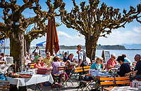 Germany, Bavaria, Chiemgau, Prien: Restaurant and Café Westernacher  at Lake Chiemsee | Deutschland, Bayern, Chiemgau, Prien: Restaurant und Café Westernacher am Chiemsee