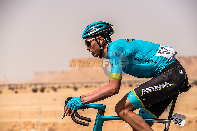 Zhandos Bizhigitov (KAZ) Astana Pro Team in action during Stage 1 of the Saudi Tour 2020 running 173km from Saudi Arabian Olympic Committee to Jaww, Saudi Arabia. 4th February 2020. <br /> Picture: ASO/Kåre Dehlie Thorstad | Cyclefile<br /> All photos usage must carry mandatory copyright credit (© Cyclefile | ASO/Kåre Dehlie Thorstad)