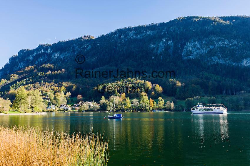 Austria, Upper Austria, Salzkammergut, Mondsee: excursion boat on lake Mondsee approaching village Au | Oesterreich, Oberoesterreich, Salzkammergut, Mondsee: Ausflugsschiff auf dem Mondsee vor dem Ort Au
