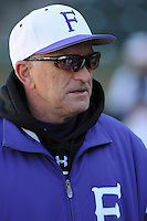 Head coach Ron Smith of the Furman Paladins prior to a game against Miami (Ohio) on Sunday, February 17, 2013, at Fluor Field at the West End in Greenville, South Carolina. (Tom Priddy/Four Seam Images)