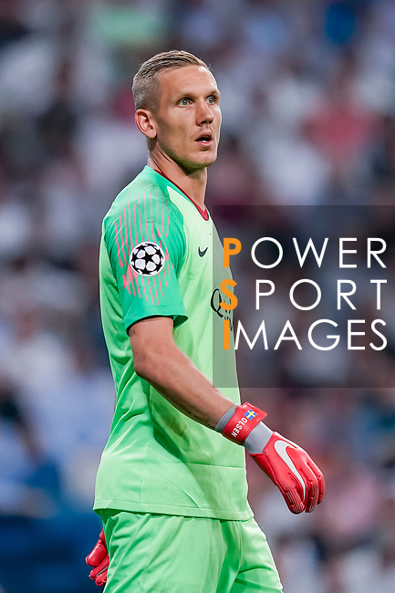Goalkeeper Robin Olsen of Roma reacts during the UEFA Champions League 2018-19 match between Real Madrid and Roma at Estadio Santiago Bernabeu on September 19 2018 in Madrid, Spain. Photo by Diego Souto / Power Sport Images