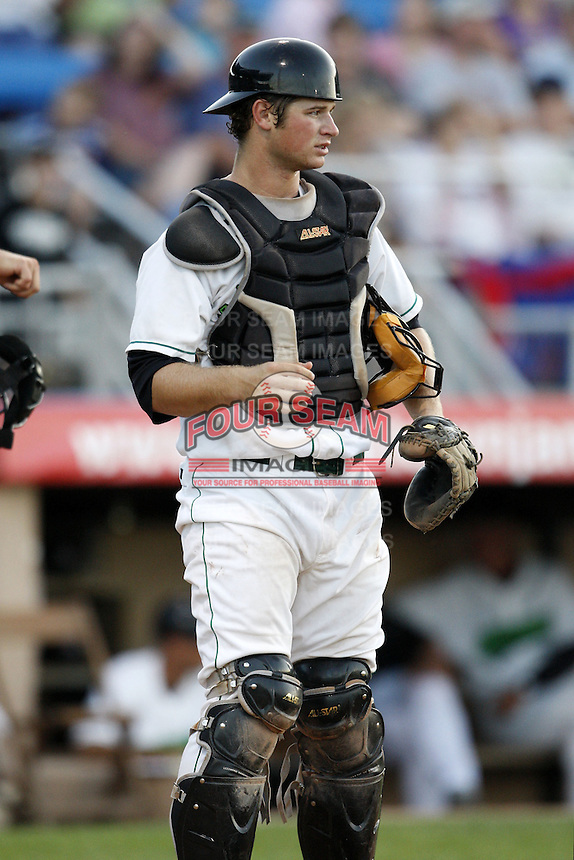 June 23, 2009:  Catcher Robert Taylor of the Jamestown Jammers in the field during a game at Russell Diethrick Park in Jamestown, NY.  The Jammers are the NY-Penn League Short-Season Class-A affiliate of the Florida Marlins.  Photo by:  Mike Janes/Four Seam Images