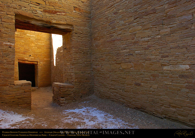 T-shaped Interior Doorway, Pueblo Bonito Chacoan Great House, Anasazi Hisatsinom Ancestral Pueblo Site, Chaco Culture National Historical Park, Chaco Canyon, Nageezi, New Mexico