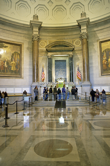 Visitors viewing the founding documents of the United States of America in Washington, D.C., USA.