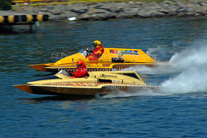 "E-143 ""Macaroni"" (1970 Ron Jones 280 class cabover hydroplane) and Harry Holst, E-160 ""Heatwave"" (1960's Whiteman 280 class cabover hydroplane)"