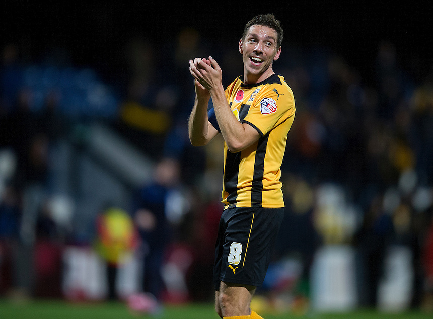Cambridge United's Tom Champion shows his delight at the final whistle with his teams 1-0 victory<br /> <br /> Photographer Stephen White/CameraSport<br /> <br /> Football - FA Challenge Cup First Round - Cambridge United v Fleetwood Town - Saturday 8th November 2014 - R Costings Abbey Stadium - Cambridge<br /> <br />  &copy; CameraSport - 43 Linden Ave. Countesthorpe. Leicester. England. LE8 5PG - Tel: +44 (0) 116 277 4147 - admin@camerasport.com - www.camerasport.com
