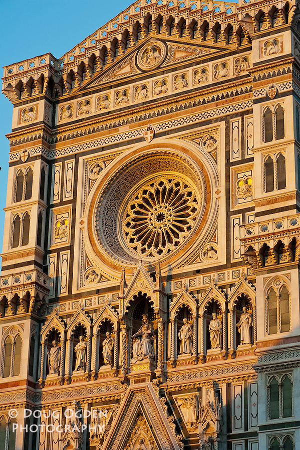 Facade, Doumo, at sunset, Florence, Italy