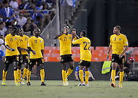 Jamaica forward Luton Shelton (21) celebrates his score with team mates.  Jamaica defeated El Salvador 2-0 in a international friendly match at RFK Stadium, Wednesday August 15, 2012.