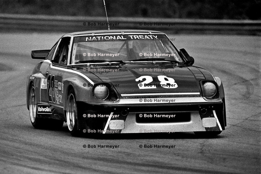 Sam Posey drives a Datsun 280ZX Turbo during a Camel GT IMSA race at Road Atlanta near Flowery Branch, Georgia, on April 12, 1981. (Photo by Bob Harmeyer)