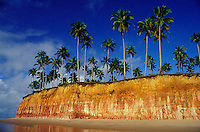 Tropical beach with coconut palm-trees on colorful cliff at Barra do Cahy beach, where the Brazilian indians and Portuguese colonizers first met in the XVI Century, in the current days belonging to Cumuruxatiba, a district of Prado municipality in south Bahia State, northeastern Brazil.