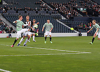 John Herron lays the ball back to Jamie Lindsay to score in the Dunfermline Athletic v Celtic Scottish Football Association Youth Cup Final match played at Hampden Park, Glasgow on 1.5.13.