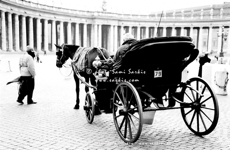 Horse drawn carriage in Saint Peter's Square, Vatican City, Rome, Italy.