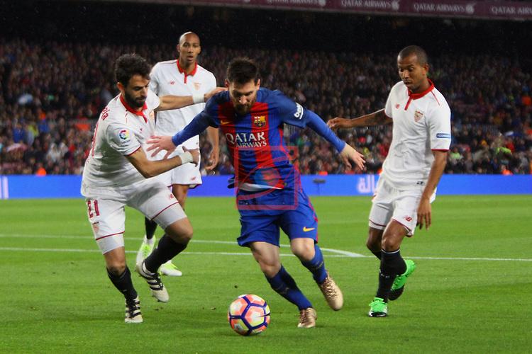 League Santander 2016/2017. Game: 30.<br /> FC Barcelona vs Sevilla FC: 3-0.<br /> Nico Pareja, Lionel Messi &amp; Mariano.