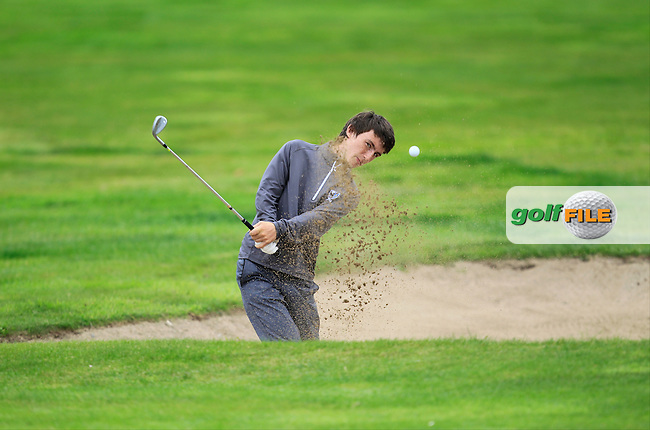Sean Doyle (Connacht) in a bunker on the 9th during the Boys Under 15 Interprovincial Championship Morning Round at the West Waterford Golf Club on Wednesday 22nd August 2013 <br /> Picture:  Thos Caffrey/ www.golffile.ie