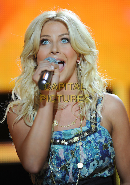 JULIANNE HOUGH.2008 CMA Music Festival Nightly Concert held on Vault Concert Stage at LP Field, Nashville, Tennessee, USA..June 6th, 2008.stage concert live gig performance music half length blue pink floral print top microphone singing .CAP/ADM/LF.©Laura Farr/AdMedia/Capital Pictures.