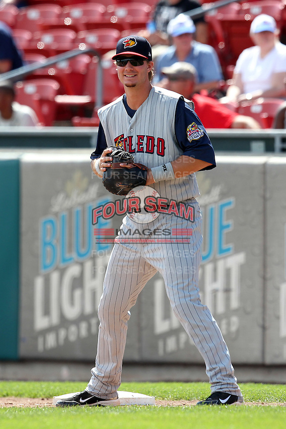 Toledo Mudhens first baseman Ryan Strieby #55 during a game against the Buffalo Bisons at Coca-Cola Field on August 17, 2011 in Buffalo, New York.  Buffalo defeated Toledo 4-2.  (Mike Janes/Four Seam Images)