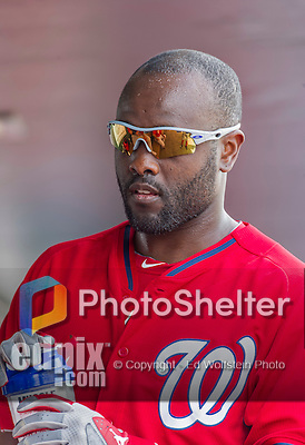 10 March 2015: Washington Nationals outfielder Tony Gwynn stands in the dugout prior to a Spring Training game against the Miami Marlins at Roger Dean Stadium in Jupiter, Florida. The Marlins edged out the Nationals 2-1 on a walk-off solo home run in the 9th inning of Grapefruit League play. Mandatory Credit: Ed Wolfstein Photo *** RAW (NEF) Image File Available ***