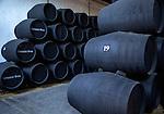 Oak barrels of maturing sherry wine cellar, Gonzalez Byass bodega, Jerez de la Frontera, Cadiz province, Spain