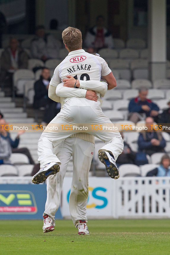 Stuart Meaker, Surrey CCC begins to celebrate his 8 for - Surrey CCC v Somerset CCC - LV County Championship, Division1 cricket at The Kia Oval - 19/05/12 - MANDATORY CREDIT: Ray Lawrence/TGSPHOTO - Self billing applies where appropriate - 0845 094 6026 - contact@tgsphoto.co.uk - NO UNPAID USE.