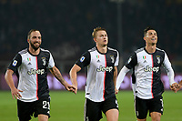 2nd November 2019; Olympic Grande Torino Stadium, Turin, Piedmont, Italy; Serie A Football, Torino versus Juventus; Gonzalo Higuain, Matthijs de Ligt and Cristiano Ronaldo of Juventus celebrate their victory at the end of the match as they win 0-1 - Editorial Use